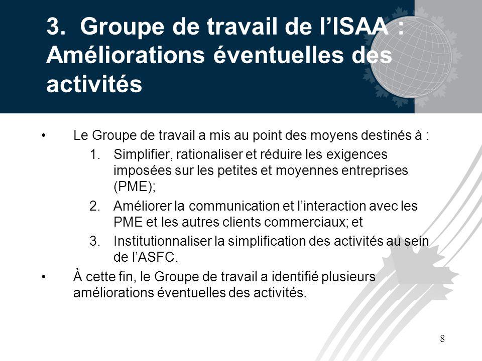 8 3. Groupe de travail de lISAA : Améliorations éventuelles des activités Le Groupe de travail a mis au point des moyens destinés à : 1.Simplifier, ra