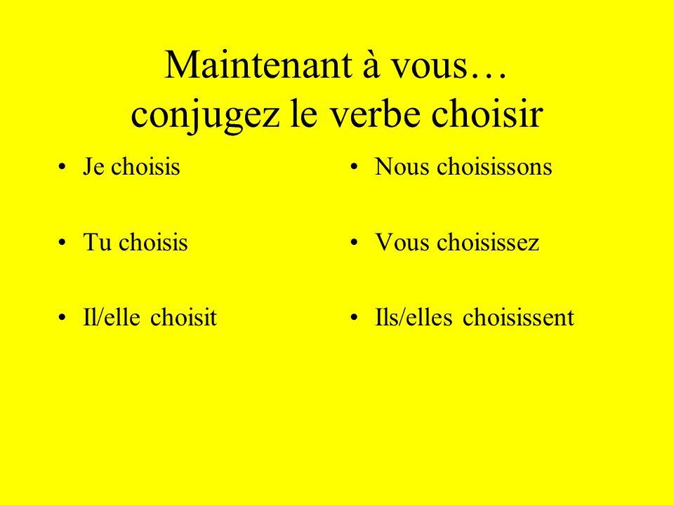 Révisons les terminaisons je tu il/elle nous vous ils/elles -is -it -issons -issez -issent