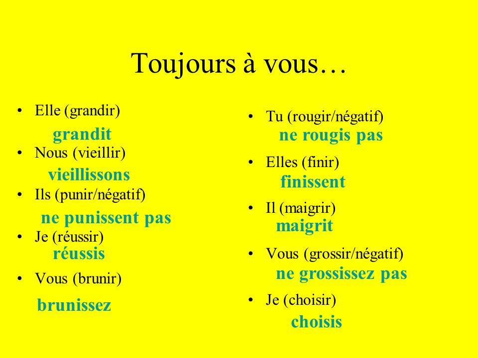Maintenant à vous… conjugez le verbe choisir Je choisis Tu choisis Il/elle choisit Nous choisissons Vous choisissez Ils/elles choisissent