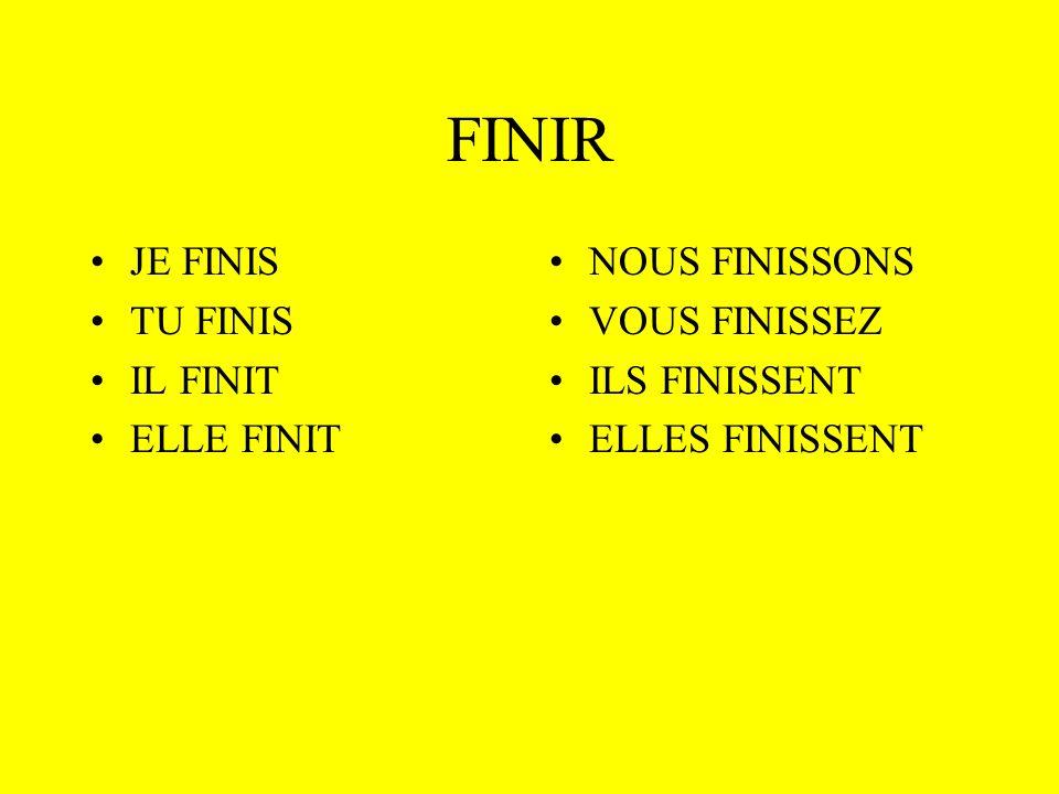 Comment conjuger un verbe en - IR Linfinitif IR FIN IS IT ISSONS ISSEZ ISSENT Les terminaisons