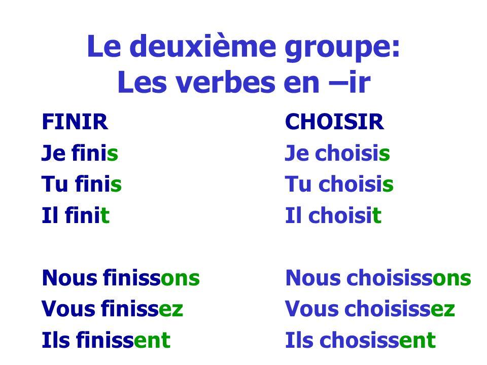 Le deuxième groupe: Les verbes en –ir FINIRCHOISIR Je finisJe choisis Tu finisTu choisis Il finitIl choisit Nous finissonsNous choisissons Vous finiss