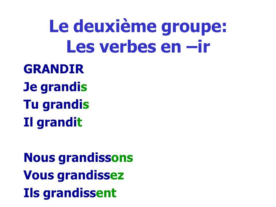 Le deuxième groupe: Les verbes en –ir GRANDIR Je grandis Tu grandis Il grandit Nous grandissons Vous grandissez Ils grandissent