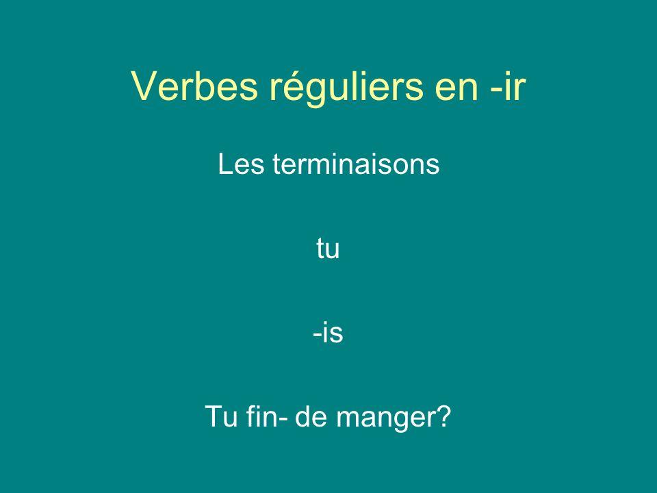 Verbes réguliers en -ir Les terminaisons tu -is Tu fin- de manger?