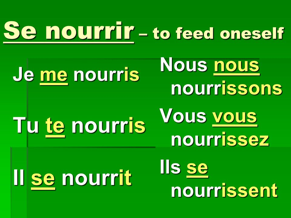 Se nourrir – to feed oneself Je me nourris Tu te nourris Il se nourrit Nous nous nourrissons Vous vous nourrissez Ils se nourrissent