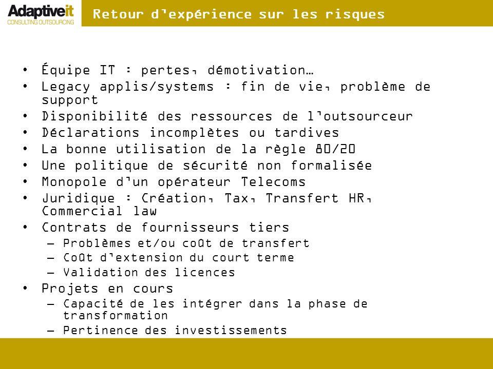 Retour dexpérience sur les risques Équipe IT : pertes, démotivation… Legacy applis/systems : fin de vie, problème de support Disponibilité des ressour