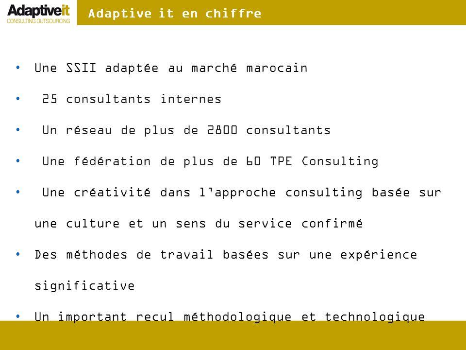 Adaptive it en chiffre Une SSII adaptée au marché marocain 25 consultants internes Un réseau de plus de 2800 consultants Une fédération de plus de 60
