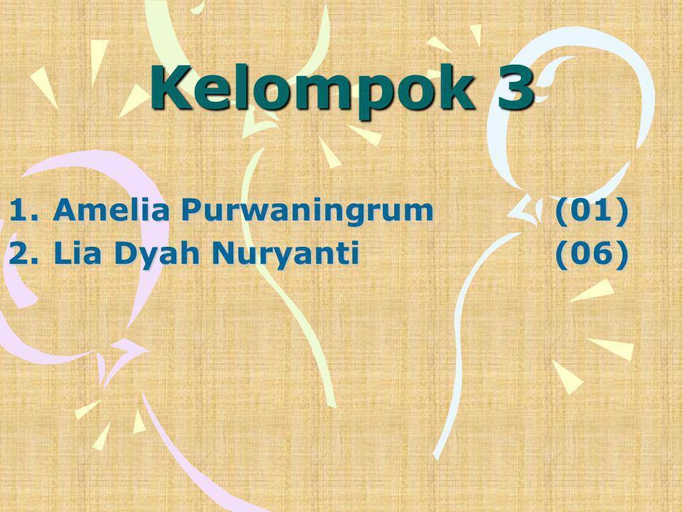 Kelompok 3 1.Amelia Purwaningrum(01) 2.Lia Dyah Nuryanti(06)