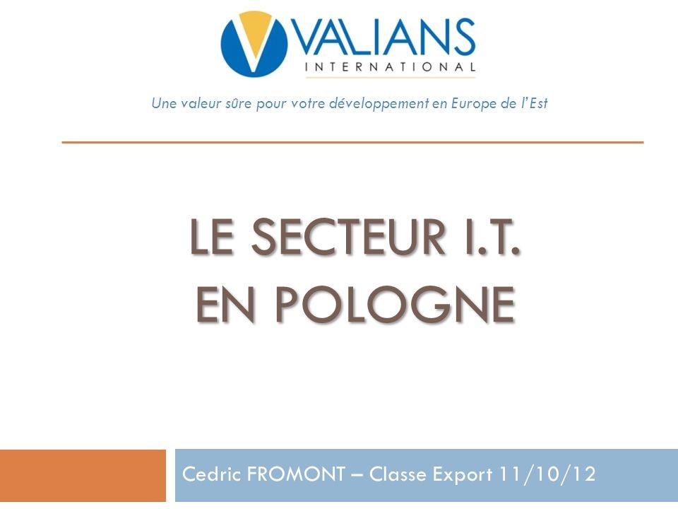 LE SECTEUR I.T. EN POLOGNE Une valeur sûre pour votre développement en Europe de lEst Cedric FROMONT – Classe Export 11/10/12