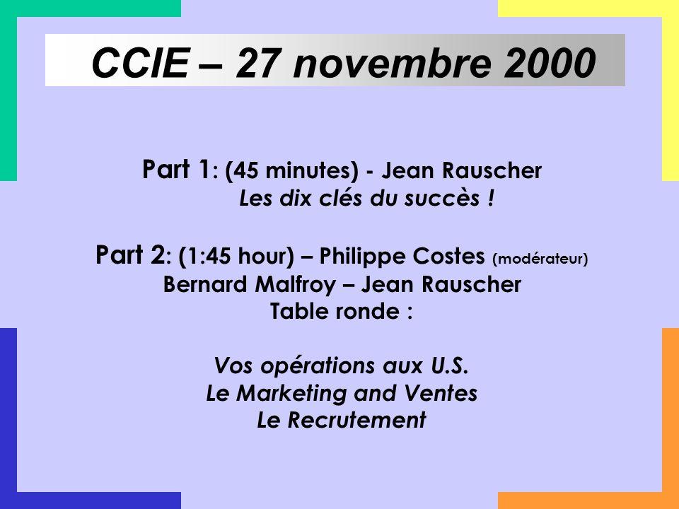 Part 1 : (45 minutes) - Jean Rauscher Les dix clés du succès ! Part 2 : (1:45 hour) – Philippe Costes (modérateur) Bernard Malfroy – Jean Rauscher Tab