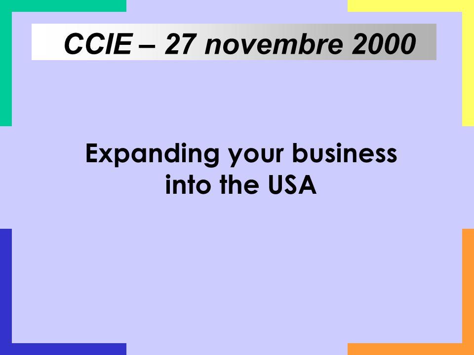 Expanding your business into the USA CCIE – 27 novembre 2000