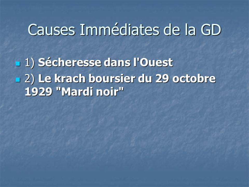 Causes Immédiates de la GD 1) Sécheresse dans l'Ouest 1) Sécheresse dans l'Ouest 2) Le krach boursier du 29 octobre 1929