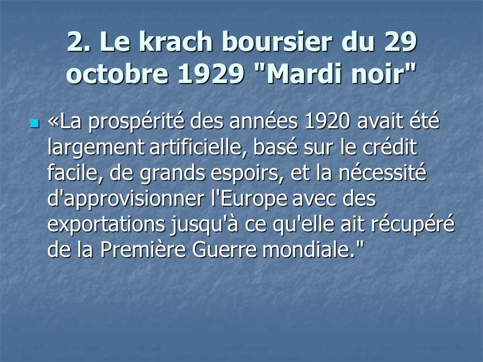2. Le krach boursier du 29 octobre 1929