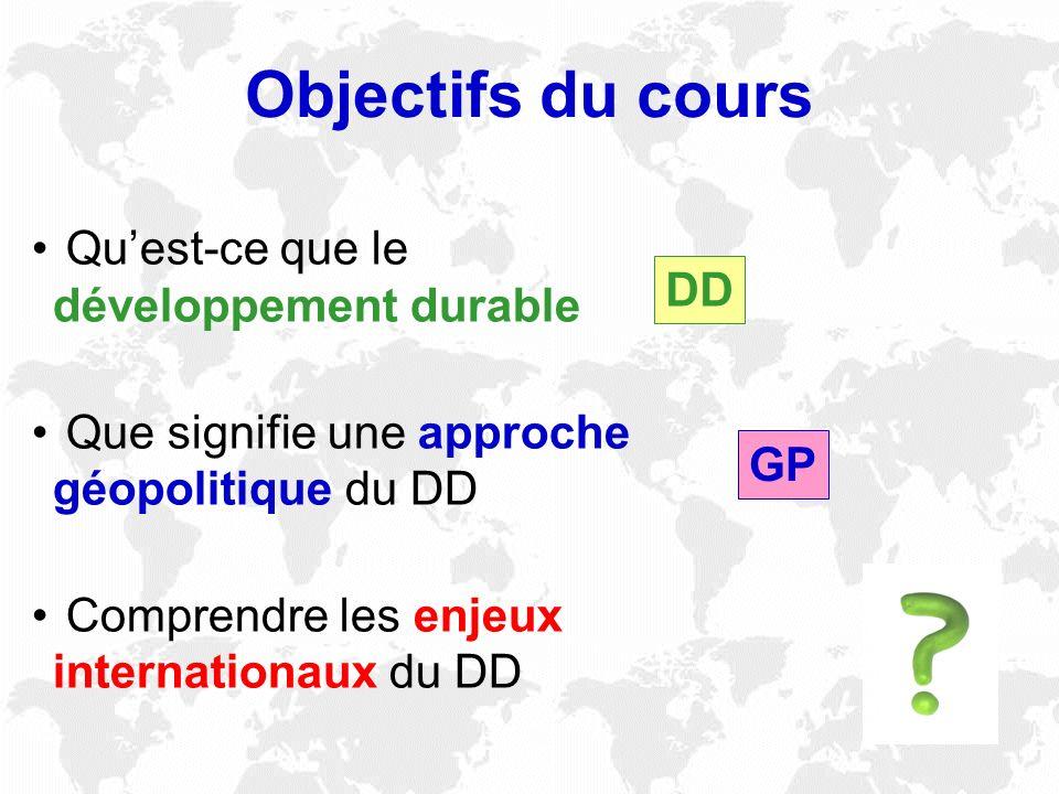 Quest-ce que le développement durable Que signifie une approche géopolitique du DD Comprendre les enjeux internationaux du DD Objectifs du cours DD GP