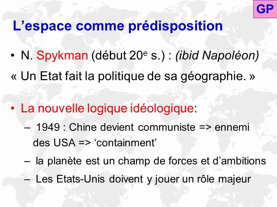 Lespace comme prédisposition N. Spykman (début 20 e s.) : (ibid Napoléon) « Un Etat fait la politique de sa géographie. » La nouvelle logique idéologi