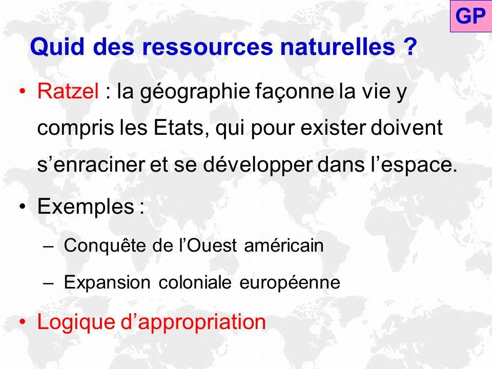 Quid des ressources naturelles ? Ratzel : la géographie façonne la vie y compris les Etats, qui pour exister doivent senraciner et se développer dans