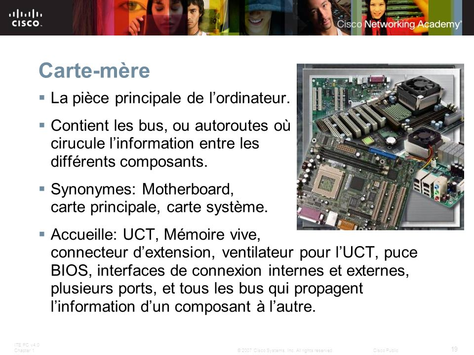 ITE PC v4.0 Chapter 1 19 © 2007 Cisco Systems, Inc. All rights reserved.Cisco Public Carte-mère La pièce principale de lordinateur. Contient les bus,
