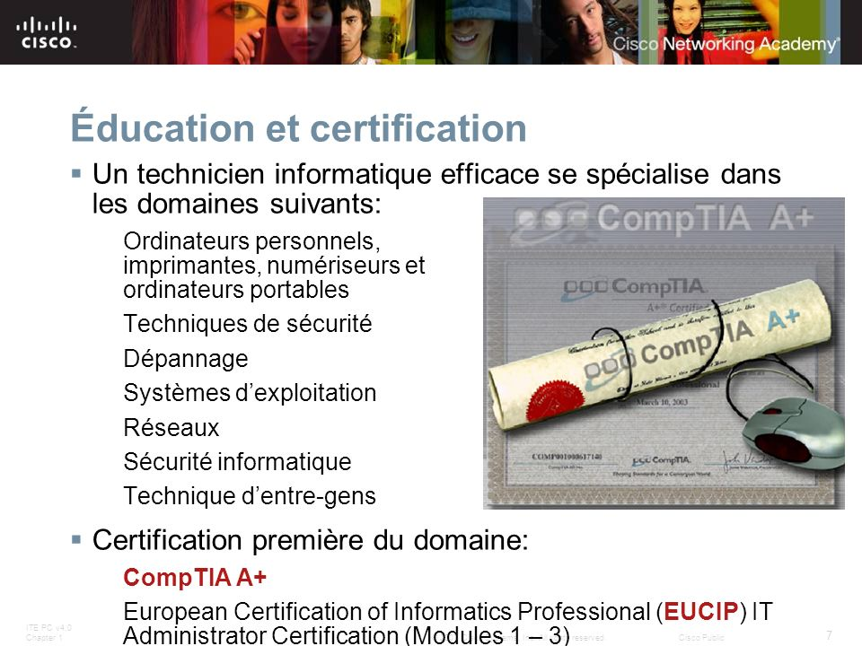 ITE PC v4.0 Chapter 1 7 © 2007 Cisco Systems, Inc. All rights reserved.Cisco Public Éducation et certification Un technicien informatique efficace se
