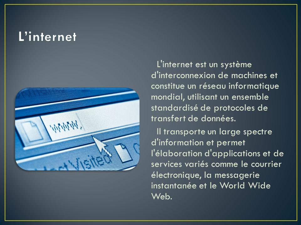 L'internet est un système d'interconnexion de machines et constitue un réseau informatique mondial, utilisant un ensemble standardisé de protocoles de