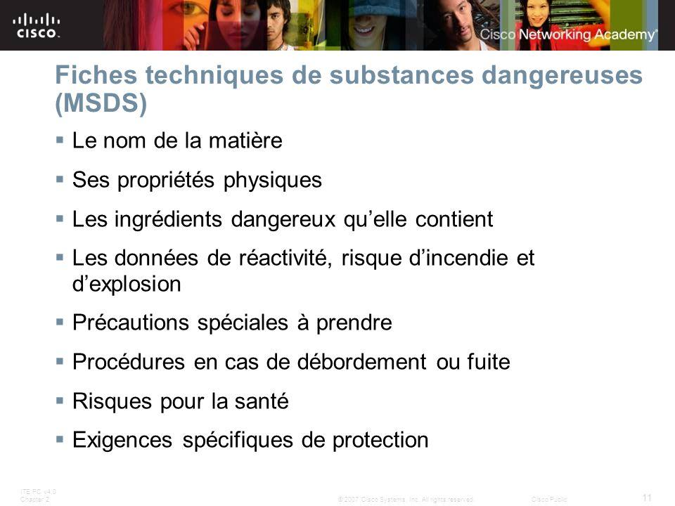 ITE PC v4.0 Chapter 2 11 © 2007 Cisco Systems, Inc. All rights reserved.Cisco Public Fiches techniques de substances dangereuses (MSDS) Le nom de la m