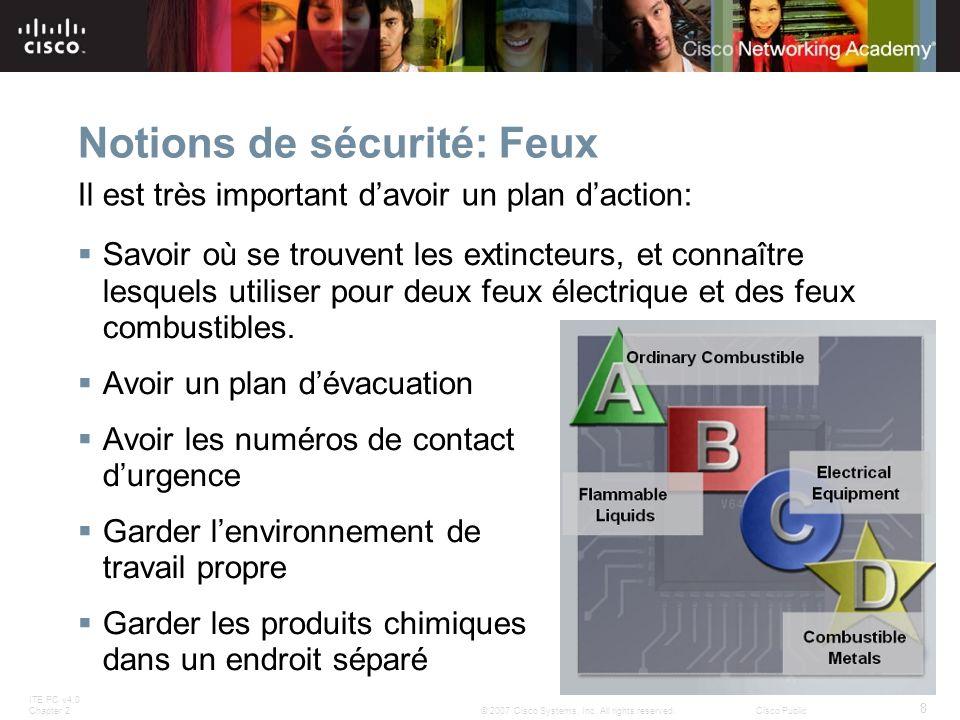 ITE PC v4.0 Chapter 2 8 © 2007 Cisco Systems, Inc. All rights reserved.Cisco Public Notions de sécurité: Feux Savoir où se trouvent les extincteurs, e