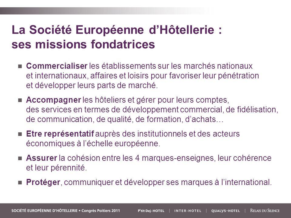 La Société Européenne dHôtellerie : ses missions fondatrices Commercialiser les établissements sur les marchés nationaux et internationaux, affaires et loisirs pour favoriser leur pénétration et développer leurs parts de marché.