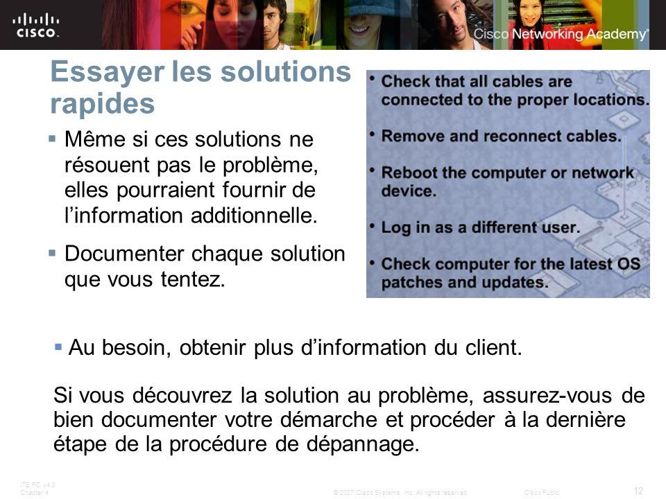 ITE PC v4.0 Chapter 4 12 © 2007 Cisco Systems, Inc. All rights reserved.Cisco Public Essayer les solutions rapides Même si ces solutions ne résouent p