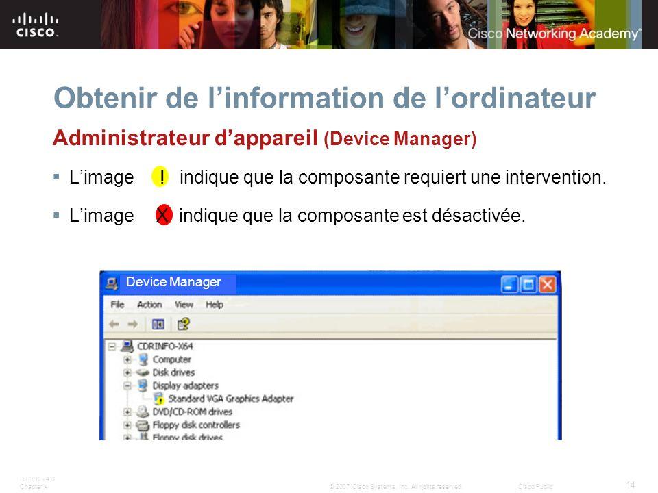 ITE PC v4.0 Chapter 4 14 © 2007 Cisco Systems, Inc. All rights reserved.Cisco Public Obtenir de linformation de lordinateur Device Manager Administrat