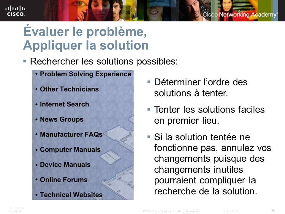 ITE PC v4.0 Chapter 4 16 © 2007 Cisco Systems, Inc. All rights reserved.Cisco Public Évaluer le problème, Appliquer la solution Rechercher les solutio