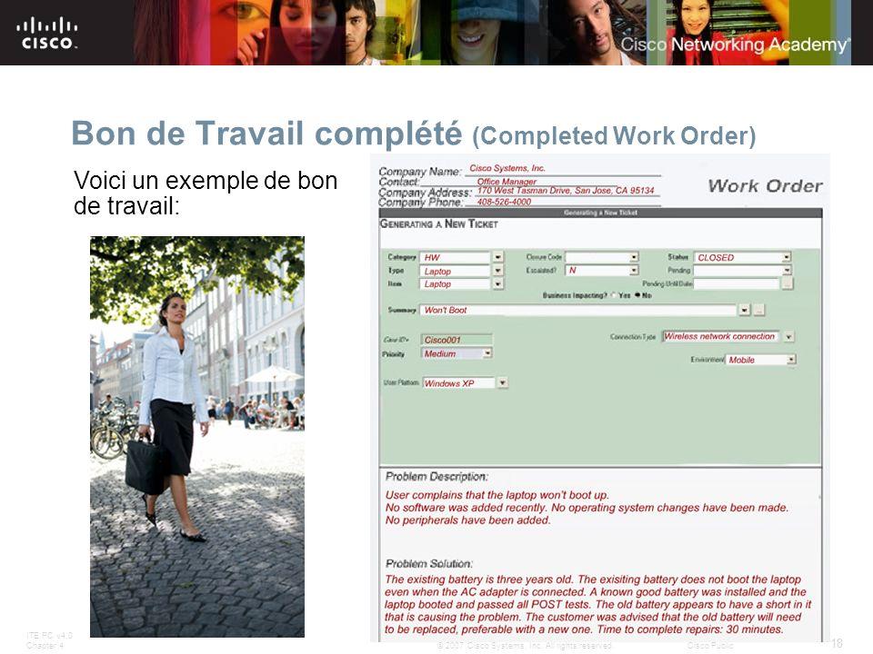 ITE PC v4.0 Chapter 4 18 © 2007 Cisco Systems, Inc. All rights reserved.Cisco Public Bon de Travail complété (Completed Work Order) Voici un exemple d