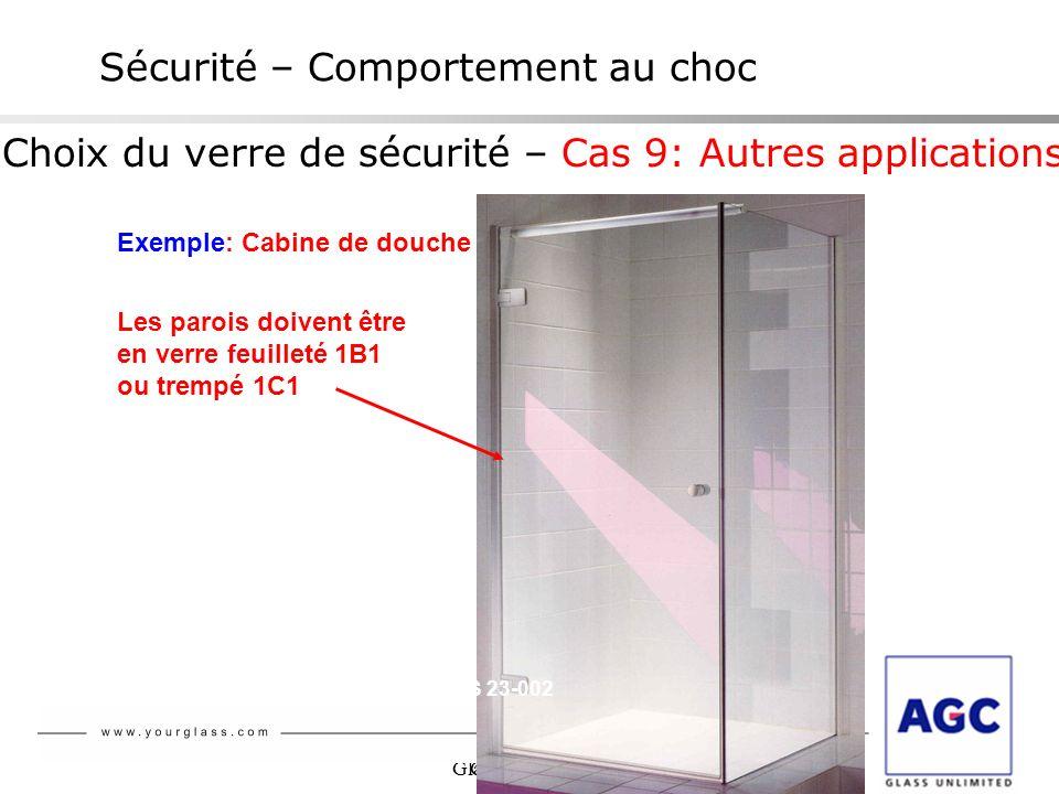 Glaverbel NBN S 23-002 Choix du verre de sécurité – Cas 9: Autres applications Sécurité – Comportement au choc Exemple: Cabine de douche Les parois do