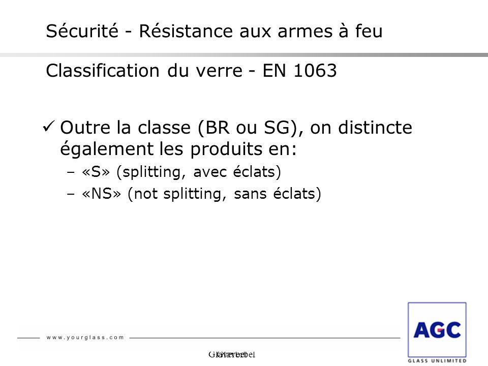 Glaverbel Outre la classe (BR ou SG), on distincte également les produits en: –«S» (splitting, avec éclats) –«NS» (not splitting, sans éclats) Sécurit