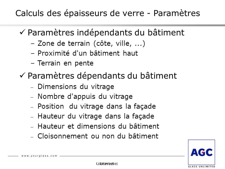 Glaverbel Paramètres indépendants du bâtiment –Zone de terrain (côte, ville,...) –Proximité d'un bâtiment haut –Terrain en pente Paramètres dépendants