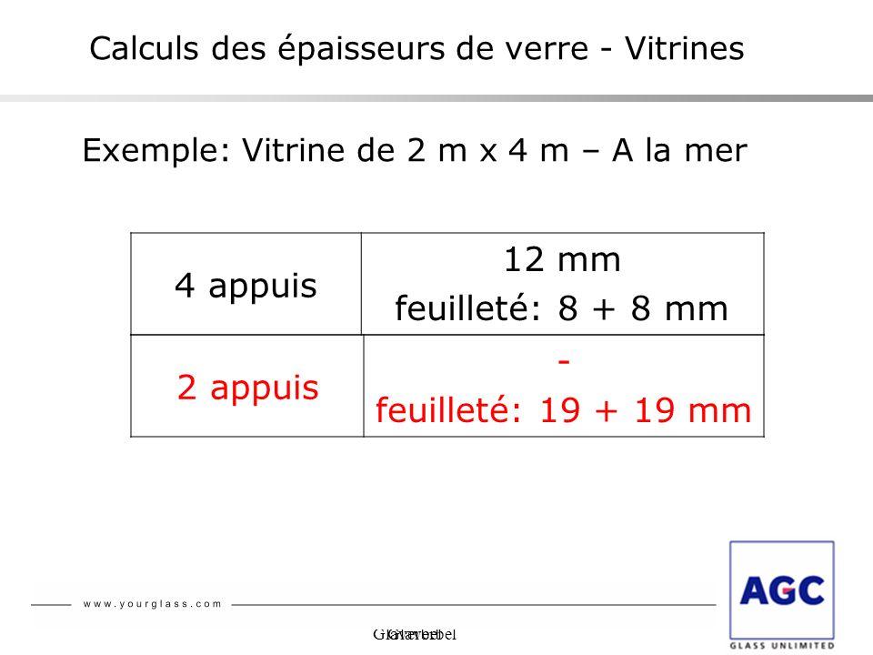 Glaverbel Calculs des épaisseurs de verre - Vitrines 4 appuis 12 mm feuilleté: 8 + 8 mm Exemple: Vitrine de 2 m x 4 m – A la mer 2 appuis - feuilleté: