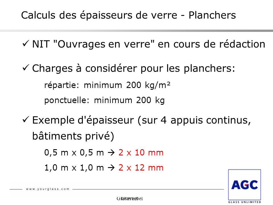 Glaverbel Calculs des épaisseurs de verre - Planchers NIT