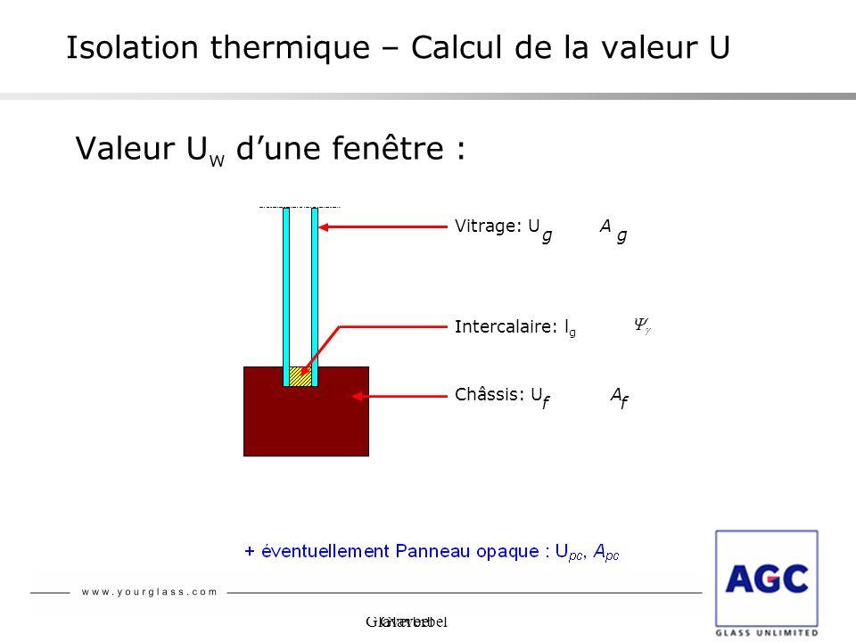 Glaverbel Isolation thermique – Calcul de la valeur U Valeur U w dune fenêtre : Châssis: U f A f Intercalaire: l g Vitrage: U g A g