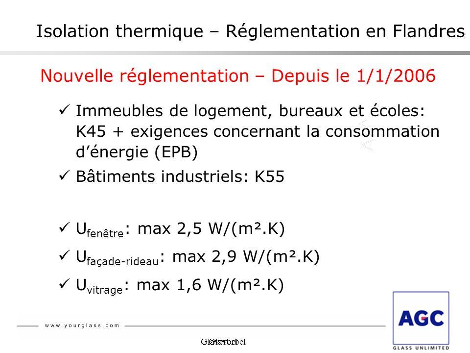 Glaverbel Isolation thermique – Réglementation en Flandres Immeubles de logement, bureaux et écoles: K45 + exigences concernant la consommation dénerg