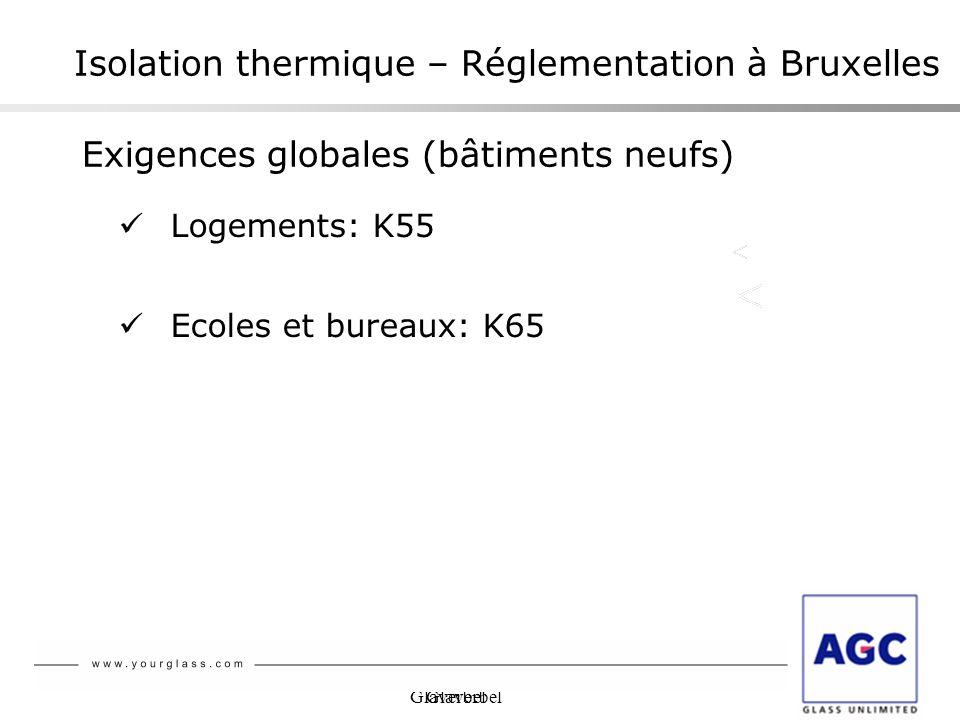 Glaverbel Isolation thermique – Réglementation à Bruxelles Logements: K55 Ecoles et bureaux: K65 Exigences globales (bâtiments neufs)