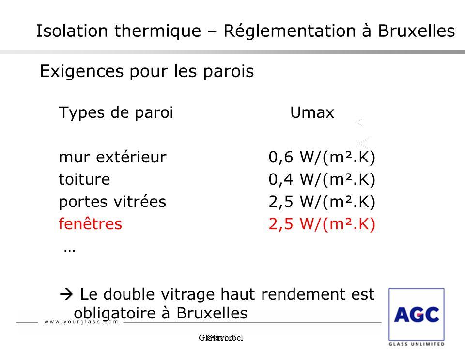 Glaverbel Isolation thermique – Réglementation à Bruxelles Exigences pour les parois Types de paroi Umax mur extérieur0,6 W/(m².K) toiture0,4 W/(m².K)