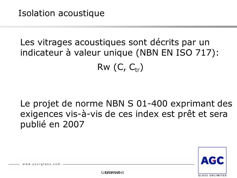 Glaverbel Isolation acoustique Les vitrages acoustiques sont décrits par un indicateur à valeur unique (NBN EN ISO 717): Rw (C, C tr ) Le projet de no