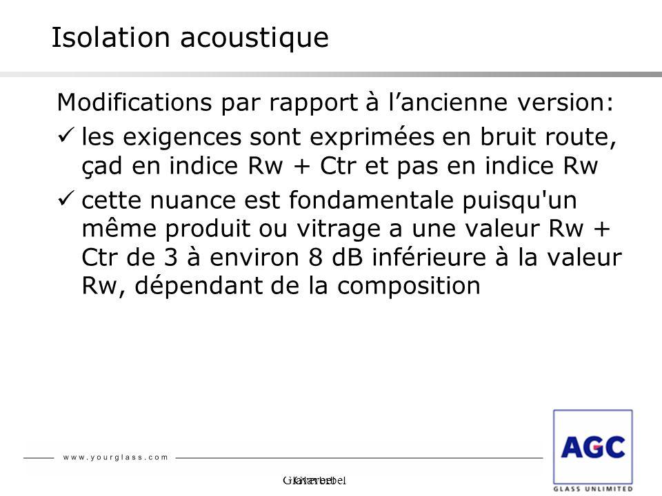 Glaverbel Isolation acoustique Modifications par rapport à lancienne version: les exigences sont exprimées en bruit route, çad en indice Rw + Ctr et p