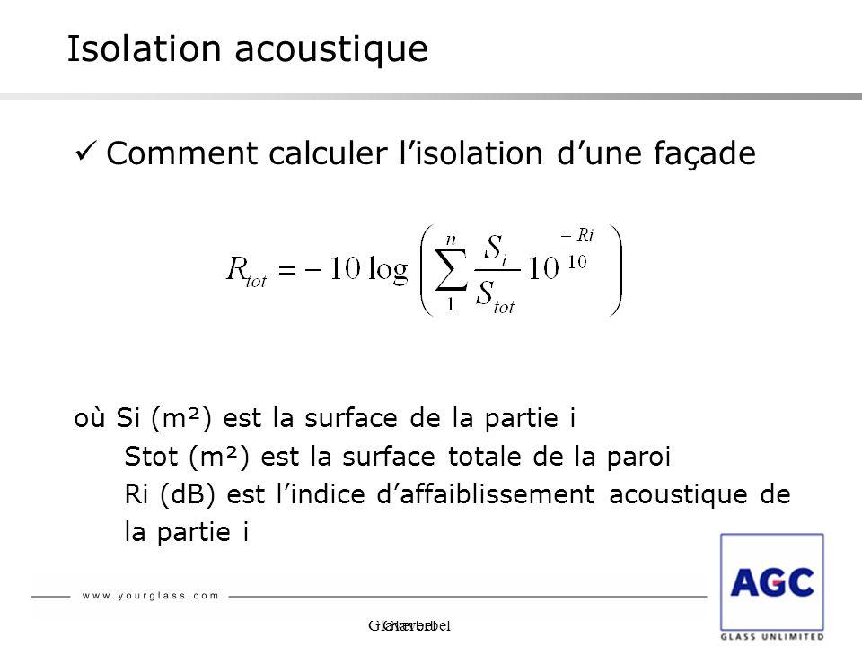 Glaverbel Isolation acoustique Comment calculer lisolation dune façade où Si (m²) est la surface de la partie i Stot (m²) est la surface totale de la