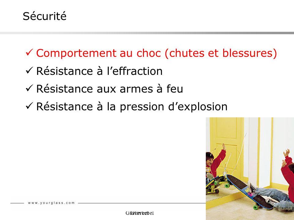 Glaverbel Sécurité Comportement au choc (chutes et blessures) Résistance à leffraction Résistance aux armes à feu Résistance à la pression dexplosion
