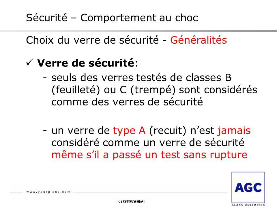 Glaverbel Sécurité – Comportement au choc Verre de sécurité: -seuls des verres testés de classes B (feuilleté) ou C (trempé) sont considérés comme des