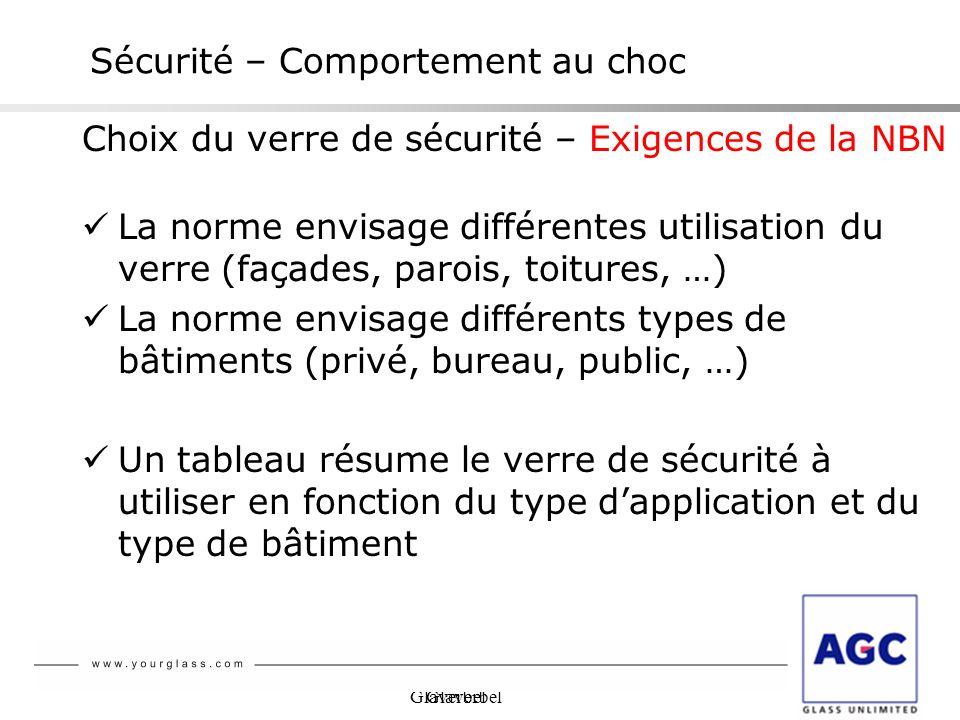 Glaverbel Sécurité – Comportement au choc Choix du verre de sécurité – Exigences de la NBN La norme envisage différentes utilisation du verre (façades