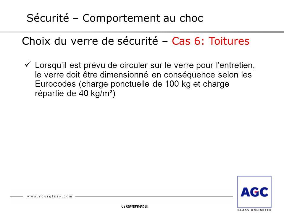 Glaverbel Sécurité – Comportement au choc Choix du verre de sécurité – Cas 6: Toitures Lorsquil est prévu de circuler sur le verre pour lentretien, le