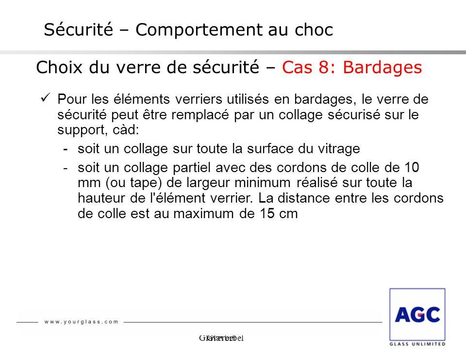 Glaverbel Sécurité – Comportement au choc Choix du verre de sécurité – Cas 8: Bardages Pour les éléments verriers utilisés en bardages, le verre de sé