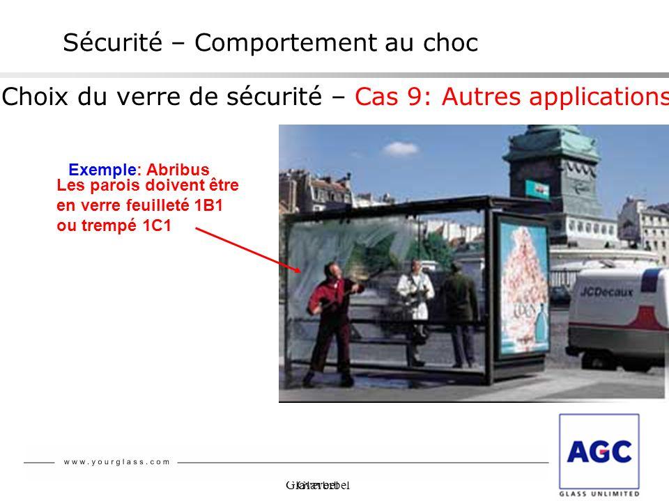 Glaverbel NBN S 23-002 Sécurité – Comportement au choc Choix du verre de sécurité – Cas 9: Autres applications Exemple: Abribus Les parois doivent êtr