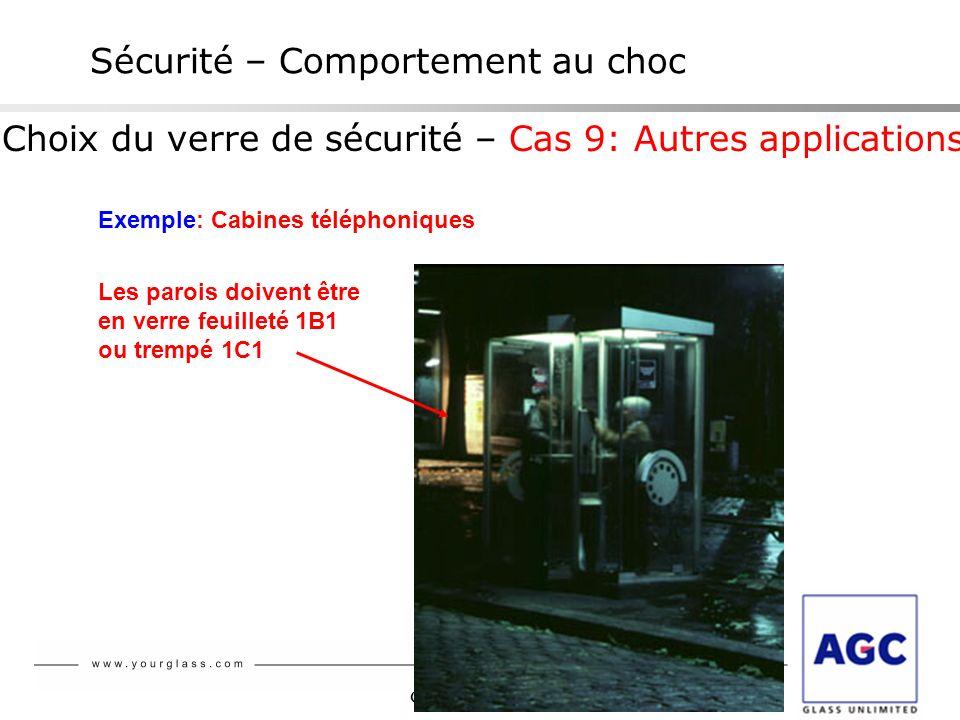 Glaverbel Sécurité – Comportement au choc Choix du verre de sécurité – Cas 9: Autres applications Exemple: Cabines téléphoniques Les parois doivent êt
