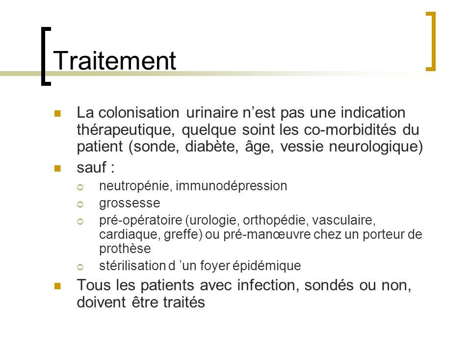 Traitement La colonisation urinaire nest pas une indication thérapeutique, quelque soint les co-morbidités du patient (sonde, diabète, âge, vessie neu