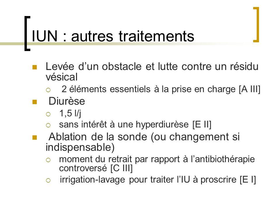 IUN : autres traitements Levée dun obstacle et lutte contre un résidu vésical 2 éléments essentiels à la prise en charge [A III] Diurèse 1,5 l/j sans